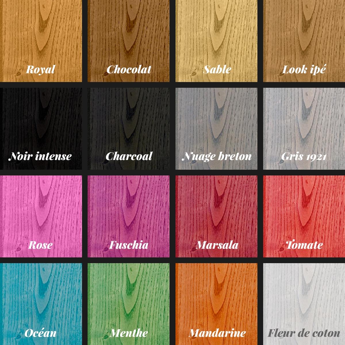 bardage bois colore, le nuancier de la gamme révélée de RahuelBois